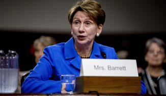 FILE - In this Sept. 12, 2019, file photo, Barbara Barrett, the nominee to the Secretary of the Air Force, speaks during her Senate Armed Services Committee confirmation hearing on Capitol Hill in Washington. The Senate has confirmed Barrett as civilian leader of the Air Force. The Oct. 16, 85-7 vote makes Barrett the third consecutive woman to lead the Air Force (AP Photo/Andrew Harnik, File)