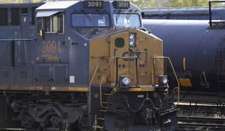 In this Monday, Oct. 14, 2019 photo a CSX locomotive rests on railroad tracks at a rail yard, in Framingham, Mass. CSX Corp. reports financial results Wednesday, Oct. 16. (AP Photo/Steven Senne)