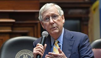 In this Oct. 7, 2019, file photo, Senate Majority Leader Mitch McConnell, R-Ky., addresses the Kentucky chapters conference of The Federalist Society at the Kentucky State Capitol in Frankfort, Ky. (AP Photo/Timothy D. Easley, File)