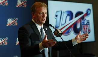 NFL Commissioner Roger Goodell speaks at a news conference after the NFL Fall league meeting, Wednesday, Oct. 16, 2019, in Fort Lauderdale, Fla. (AP Photo/Wilfredo Lee)