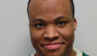 This photo provided by the Virginia Department of Corrections shows Lee Boyd Malvo. Liberal and conservative justices seemed split on whether to grant a new sentencing hearing to Lee Boyd Malvo, who as a teenager was one of two snipers who terrorized the Washington area.  (Virginia Department of Corrections via AP)