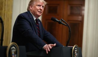 President Donald Trump speaks during a news conference with Italian President Sergio Mattarella in the East Room of the White House, Wednesday, Oct. 16, 2019, in Washington. (AP Photo/Evan Vucci)