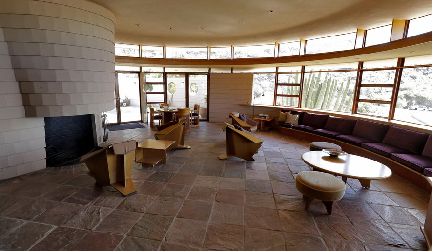 The Norman Lykes House, the final home architect Frank Lloyd Wright designed before he died, is shown Tuesday, Oct. 15, 2019 in Phoenix. Heritage Auctions told The Associated Press exclusively that the Norman Lykes House was sold at auction Wednesday for nearly $1.7 million.  (AP Photo/Matt York)