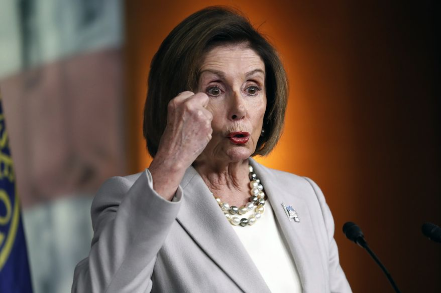 House Speaker Nancy Pelosi of Calif., gestures while speaking during a news conference on Capitol Hill in Washington, Thursday, Oct. 17, 2019. (AP Photo/Pablo Martinez Monsivais)