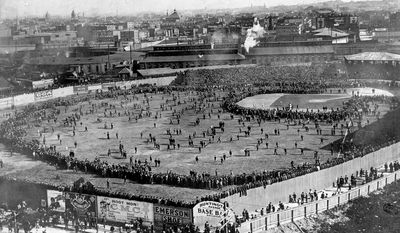 This aerial view shows the Huntington Avenue Baseball Grounds during  the first World Series game between the Boston Pilgrims and the Pittsburgh Pirates in Boston, Ma., on Oct. 1, 1903.   The Pirates defeated the Pilgrims in game one, 7-3.  Boston went on to win the first American League versus the National League World Series, five games to three.  (AP Photo)