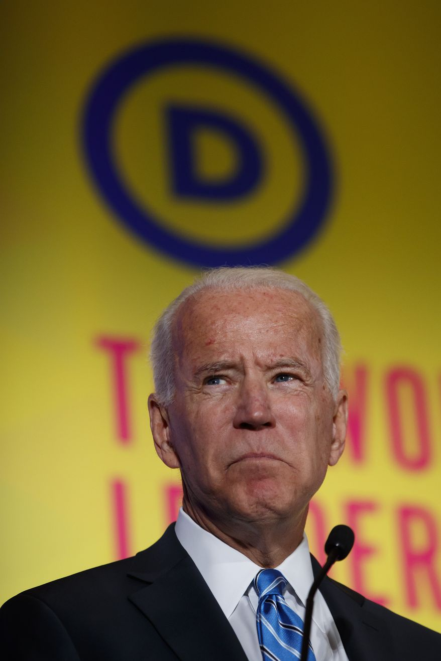 Democratic presidential candidate former Vice President Joe Biden speaks at the 2019 Democratic women's leadership forum, Thursday, Oct. 17, 2019, in Washington. (AP Photo/Alex Brandon)
