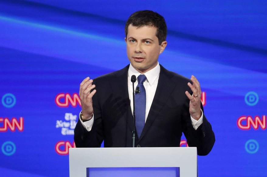 In this Oct. 15, 2019, photo, Democratic presidential candidate South Bend Mayor Pete Buttigieg speaks during a Democratic presidential primary debate hosted by CNN and The New York Times at Otterbein University in Westerville, Ohio. As Buttigieg attempts to climb into the top tier of Democratic presidential candidates, voters will be taking a measure of him in all ways, including whether he can make the kind of personal connection they have come to expect (AP Photo/John Minchillo)