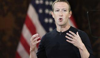 Facebook CEO Mark Zuckerberg speaks at Georgetown University, Thursday, Oct. 17, 2019, in Washington. (AP Photo/Nick Wass)