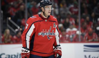Washington Capitals defenseman John Carlson stands on the ice during the second period of an NHL hockey game against the Toronto Maple Leafs, Wednesday, Oct. 16, 2019, in Washington. (AP Photo/Nick Wass)