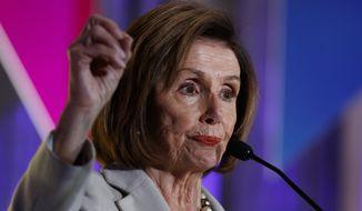 House Speaker Nancy Pelosi of Calif., speaks at the 2019 Democratic women's leadership forum, Thursday, Oct. 17, 2019, in Washington. (AP Photo/Alex Brandon) **FILE**