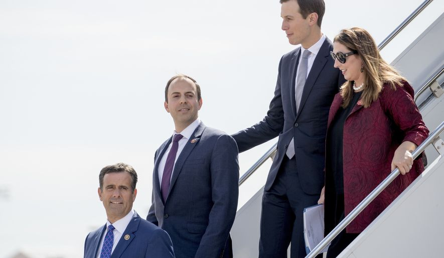 Rep. John Ratcliffe, R-Texas, Rep. Lance Gooden, R-Texas, President Donald Trump's White House senior adviser Jared Kushner, and Republican National Committee chair Ronna McDaniel, step from Air Force One as they arrive with President Donald Trump at Naval Air Station Joint Reserve Base in Fort Worth, Texas, Thursday, Oct. 17, 2019. (AP Photo/Andrew Harnik)