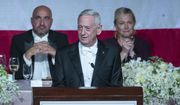 Former U.S. Secretary of Defense Jim Mattis, center, delivers the keynote address during the 74th Annual Alfred E. Smith Memorial Foundation Dinner, Thursday, Oct. 17, 2019, in New York. (AP Photo/Mary Altaffer)