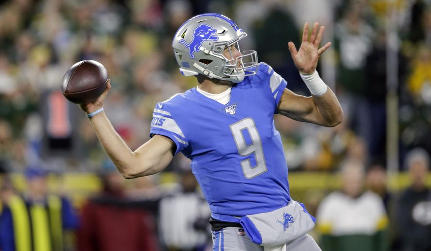 Detroit Lions quarterback Matthew Stafford throws a pass during the first half of an NFL football game against the Green Bay Packers, Monday, Oct. 14, 2019, in Green Bay, Wis. (AP Photo/Jeffrey Phelps)