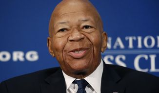 FILE - In this Aug. 7, 2019, file photo, Rep. Elijah Cummings, D-Md., speaks during a luncheon at the National Press Club in Washington.  U.S. Rep. Cummings has died from complications of longtime health challenges, his office said in a statement on Oct. 17, 2019. (AP Photo/Patrick Semansky, File)