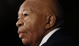 In this Aug. 7, 2019, photo, Rep. Elijah Cummings, D-Md., speaks during a luncheon at the National Press Club in Washington.  U.S. Rep. Cummings has died from complications of longtime health challenges, his office said in a statement on Oct. 17, 2019.  (AP Photo/Patrick Semansky)