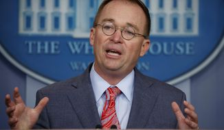 White House chief of staff Mick Mulvaney announces that the G7 will be held at Trump National Doral, Thursday, Oct. 17, 2019, in Washington. (AP Photo/Evan Vucci)