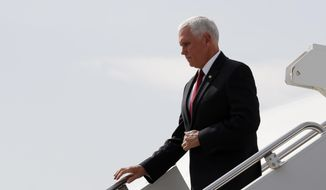 Vice President Mike Pence arrives in Ankara, Turkey, Thursday, Oct. 17, 2019. Vice President Mike Pence and Secretary of State Mike Pompeo have arrived in Turkey to mount an improbable push for a cease-fire in Syria (AP Photo/Jacquelyn Martin)