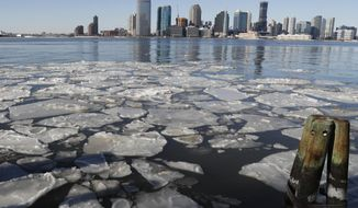FILE - In this Sunday, Jan. 7, 2018 file photo, ice floats in the Hudson River in Lower Manhattan with Jersey City, N.J., visible across the river. On Thursday, Oct. 17, 2019, the National Weather Service predicts there's a slight chance the upcoming winter will be warmer in most of the United States and no place will be colder than normal. (AP Photo/Kathy Willens)
