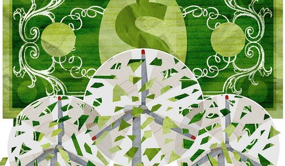 Wind Power Subsidies Illustration by Greg Groesch/The Washington Times