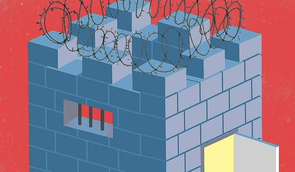 Illustration on criminal justice reform by Linas Garsys/The Washington Times