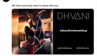 President Trump is tied up and dominated in an ad by the athletic apparel company Dhvani. Ad space in Times Square has been purchased to promote the brand. (Image: Twitter, Dhvani)