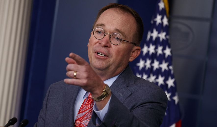 White House acting Chief of Staff Mick Mulvaney announces that the G-7 will be held at Trump National Doral, Thursday, Oct. 17, 2019, in Washington. (AP Photo/Evan Vucci) ** FILE **