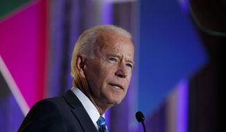 Democratic presidential candidate former Vice President Joe Biden speaks at the 2019 Democratic women's leadership forum, Thursday, Oct. 17, 2019, in Washington. (AP Photo/Alex Brandon)