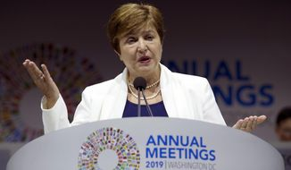 International Monetary Fund (IMF) Managing Director Kristalina Georgieva speaks during the opening ceremony of the World Bank/IMF Annual Meetings in Washington, Friday, Oct. 18, 2019. (AP Photo/Jose Luis Magana)