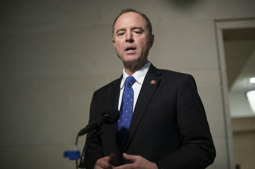 House Intelligence Committee Chairman Rep. Adam Schiff, of Calif., speaks to the media as he returns to a closed door meeting where Ambassador to the European Union Gordon Sondland, testifies as part of the House impeachment inquiry into President Donald Trump, on Capitol Hill in Washington, Thursday, Oct. 17, 2019. (AP Photo/Pablo Martinez Monsivais)