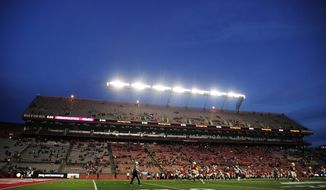 A general view of game play during the second half of an NCAA college football game between Minnesota and Rutgers Saturday, Oct. 19, 2019, in Piscataway, N.J. (AP Photo/Sarah Stier)
