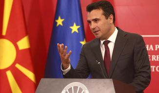"""North Macedonia's Prime Minister Zoran Zaev talks to the media during a news conference at the government building in Skopje, North Macedonia, Saturday, Oct. 19, 2019. North Macedonia's Prime Minister Zoran Zaev say he is """"disappointed and outraged"""" with European Union's Council decision not to start membership talks with his country. (AP Photo/Boris Grdanoski)"""