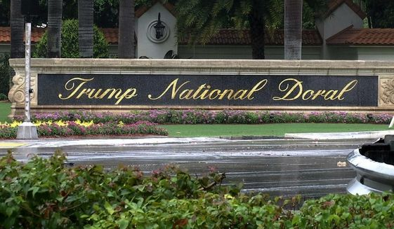 This June 2, 2017, file image made from video shows the Trump National Doral in Doral, Fla. President Donald Trump said on Twitter on Saturday, Oct. 19, 2019, he is reversing his plan to hold the next Group of Seven world leaders' meeting at his Doral, Florida, golf resort. (AP Photo/Alex Sanz, File) **FILE**