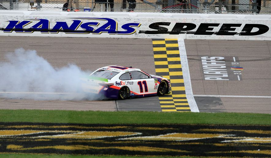 Denny Hamlin picked up his fifth win of the season with a NASCAR Cup Series elimination race victory at Kansas Speedway in Kansas City, Kansas. (ASSOCIATED PRESS)