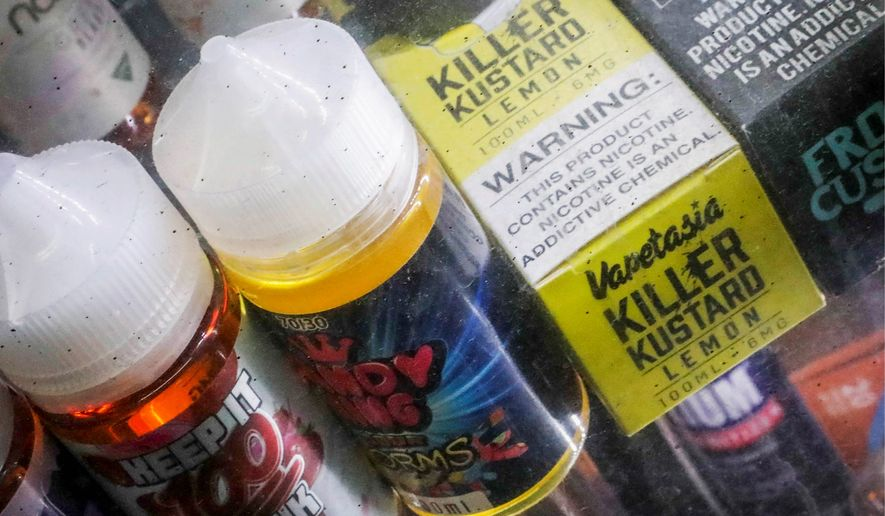 Flavored vaping products were forced last month to be taken off the market. Now, vaping devices and cartridges can be handed in on National Prescription Drug Take Back Day. (Associated Press)