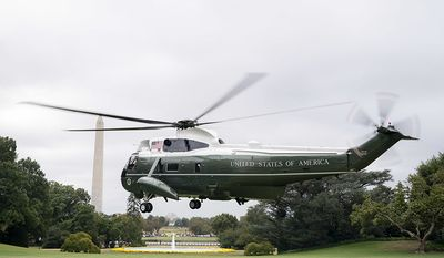 VH-3D SEA KING                                                                                                                                             Marine One approaches for a landing on the South Lawn of the White House Thursday, Oct. 3, 2019, as President Donald J. Trump returns from his trip to The Villages, FL. (Official White House Photo by Tia Dufour)