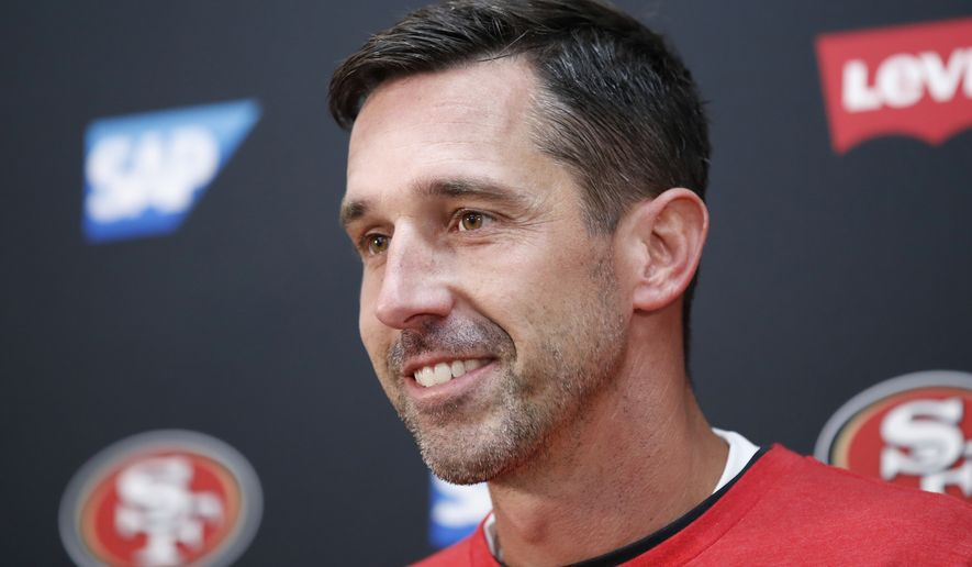 San Francisco 49ers head coach Kyle Shanahan speaks at a news conference after an NFL football game against the Washington Redskins, Sunday, Oct. 20, 2019, in Landover, Md. (AP Photo/Alex Brandon)