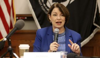 Democratic presidential candidate Sen. Amy Klobuchar, D-Minn., speaks during her roundtable with veterans at Carnegie-Stout Public Library in Dubuque, Iowa, on Saturday, Oct. 19, 2019. (Eileen Meslar/Telegraph Herald via AP)