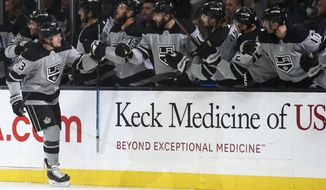 Los Angeles Kings center Tyler Toffoli, left, celebrates with teammates after scoring against the Calgary Flames during the first period of an NHL hockey game in Los Angeles, Saturday, Oct. 19, 2019. (AP Photo/Alex Gallardo)