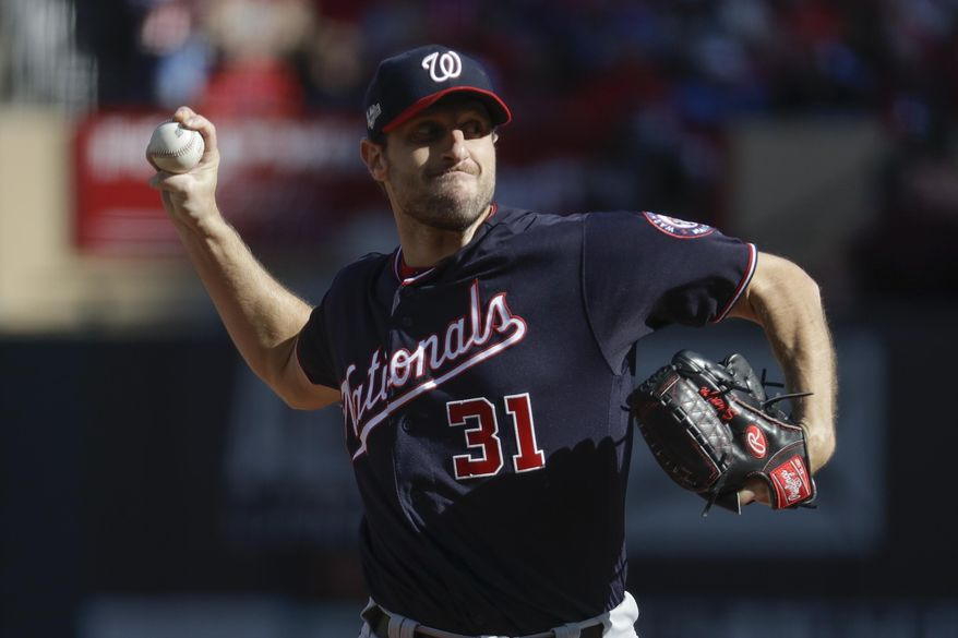 Washington Nationals starting pitcher Max Scherzer throws during the first inning of Game 2 of the baseball National League Championship Series against the St. Louis Cardinals Saturday, Oct. 12, 2019, in St. Louis. (AP Photo/Mark Humphrey) **FILE**