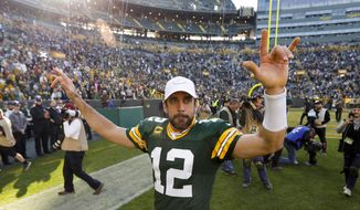 Green Bay Packers' Aaron Rodgers reacts after an NFL football game against the Oakland Raiders Sunday, Oct. 20, 2019, in Green Bay, Wis. The Packers won 42-24. (AP Photo/Mike Roemer)