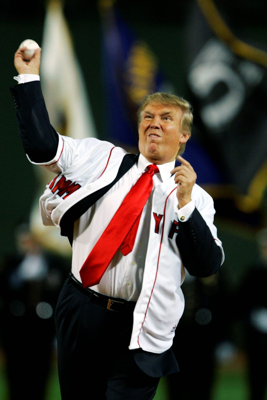Donald Trump threw out the ceremonial first pitch for a 2006 game between the Boston Red Sox and the New York Yankees at Fenway Park in Boston. (Associated Press/File)