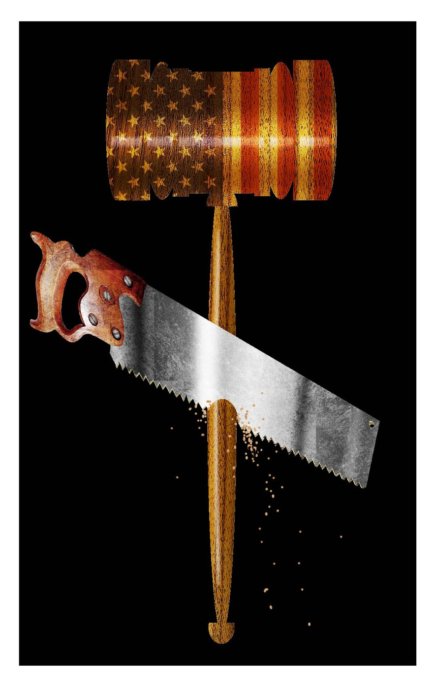 Illustration on undermining the rule of law by Alexander Hunter/The Washington Times