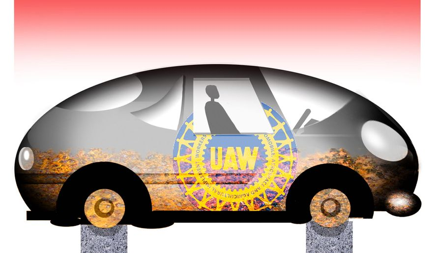 Illustration on the UAW by Alexander Hunter/The Washington Times