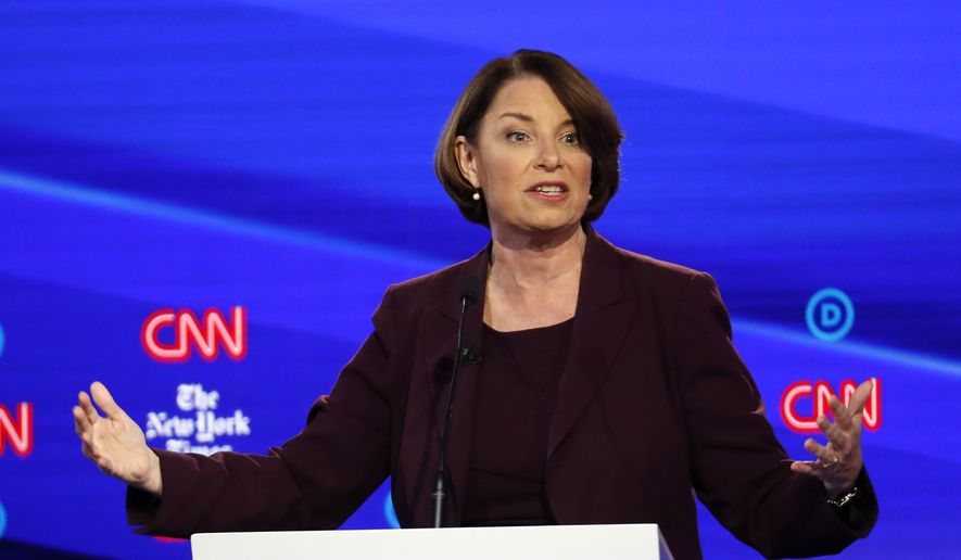 In this Oct. 15, 2019, photo, Democratic presidential candidate Sen. Amy Klobuchar, D-Minn., participates in a Democratic presidential primary debate hosted by CNN and The New York Times at Otterbein University in Westerville, Ohio. (AP Photo/John Minchillo)