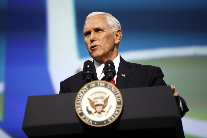 Vice President Mike Pence speaks at the opening ceremony of the International Astronautical Congress, Monday, Oct. 21, 2019, in Washington. (AP Photo/Patrick Semansky)