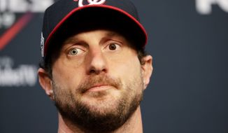 Washington Nationals starting pitcher Max Scherzer speaks during a news conference for baseball's World Series Monday, Oct. 21, 2019, in Houston. The Houston Astros face the Washington Nationals in Game 1 on Tuesday. (AP Photo/Eric Gay) ** FILE **