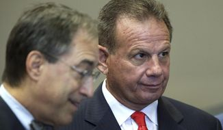 Former sheriff of Broward County Scott Israel, right, and his attorney Benedict Knuhne wait their turn to speak to the Senate Rules Committee concerning his dismissal by Gov. Ron DeSantis, Monday Oct. 21, 2019, in Tallahassee, Fla. (AP Photo/Steve Cannon)