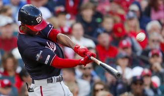Washington Nationals' Michael A. Taylor hits a home run during the third inning of Game 2 of the baseball National League Championship Series against the St. Louis Cardinals Saturday, Oct. 12, 2019, in St. Louis. (AP Photo/Jeff Roberson) ** FILE **