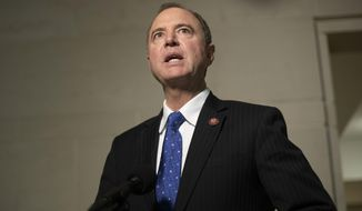 House Intelligence Committee Chairman Rep. Adam Schiff of Calif., speaks to the media as he returns to a closed door meeting where Ambassador to the European Union Gordon Sondland, testifies as part of the House impeachment inquiry into President Donald Trump, on Capitol Hill in Washington, Thursday, Oct. 17, 2019. (AP Photo/Pablo Martinez Monsivais)