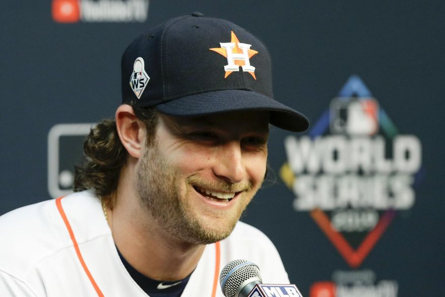 Houston Astros starting pitcher Gerrit Cole speaks during a news conference for baseball's World Series Monday, Oct. 21, 2019, in Houston. The Houston Astros face the Washington Nationals in Game 1 on Tuesday. (AP Photo/Eric Gay)